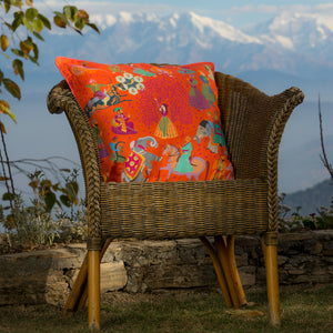 The Marriage of Draupadi Cushion - Marigold Linen 50x50cm