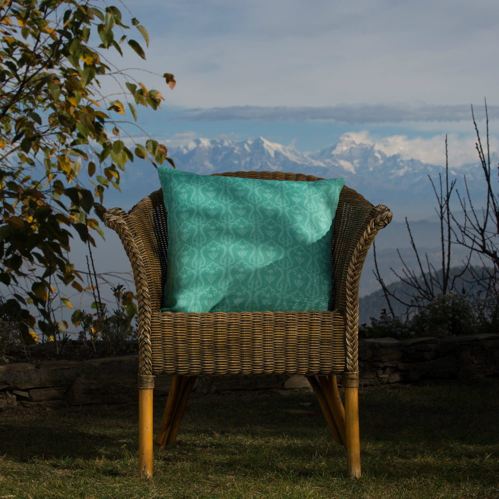 Lattice Cushion - Ice Turquoise Linen 50x50cm