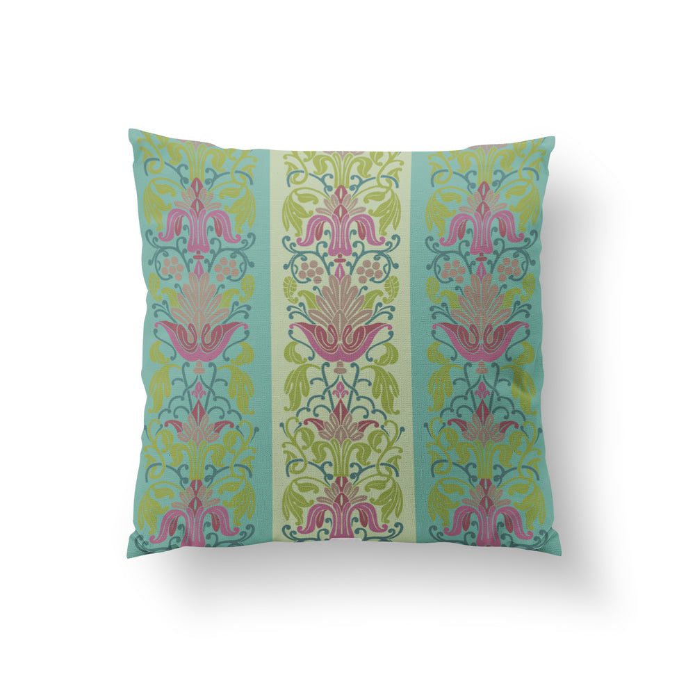 Mughal Garden Cushion - Misty Mint Pure Silk 45x45cm