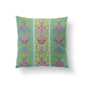 Load image into Gallery viewer, Mughal Garden Cushion - Misty Mint Pure Silk 45x45cm