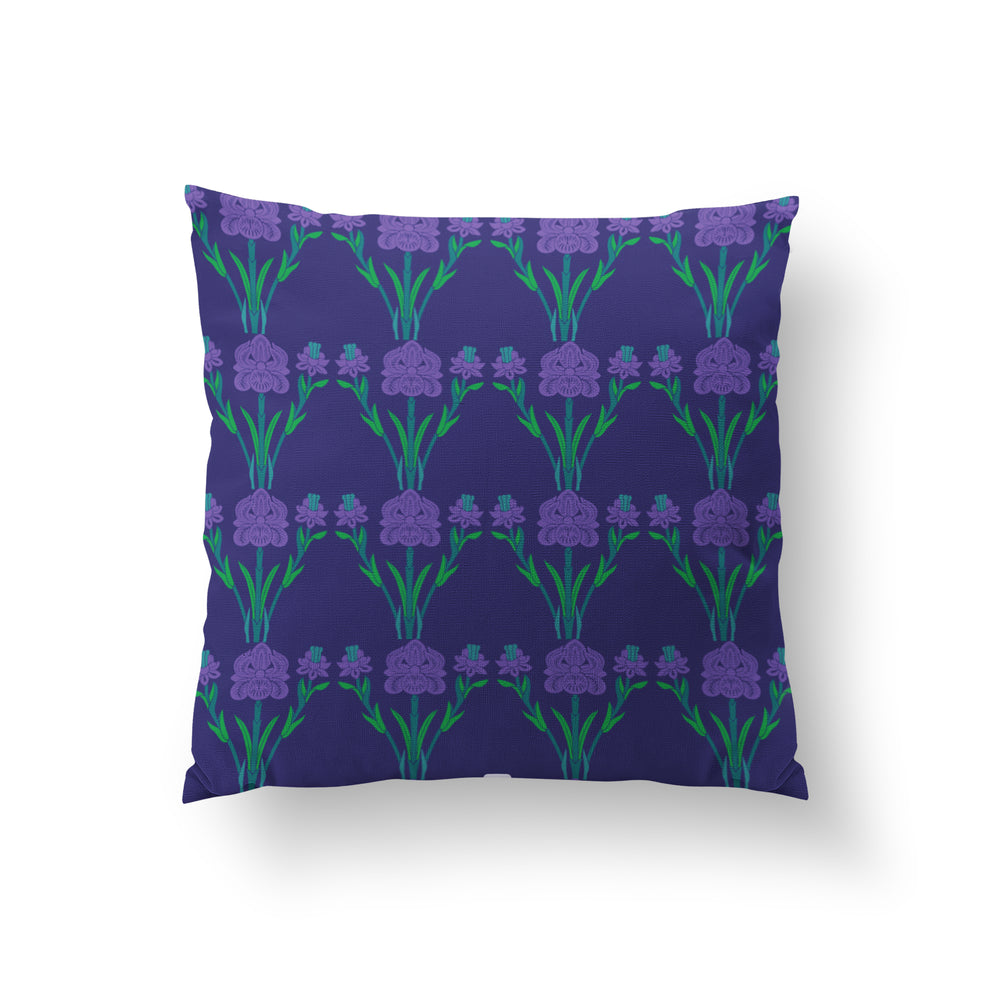 Load image into Gallery viewer, Trellis Cushion - Midnight Blue Pure Silk 45x45cm