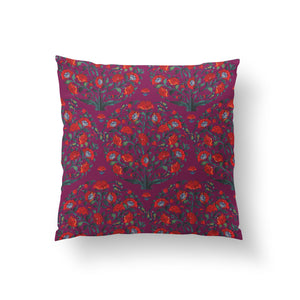 Load image into Gallery viewer, In Full Bloom Cushion - Jewel Plum Pure Silk 45x45cm