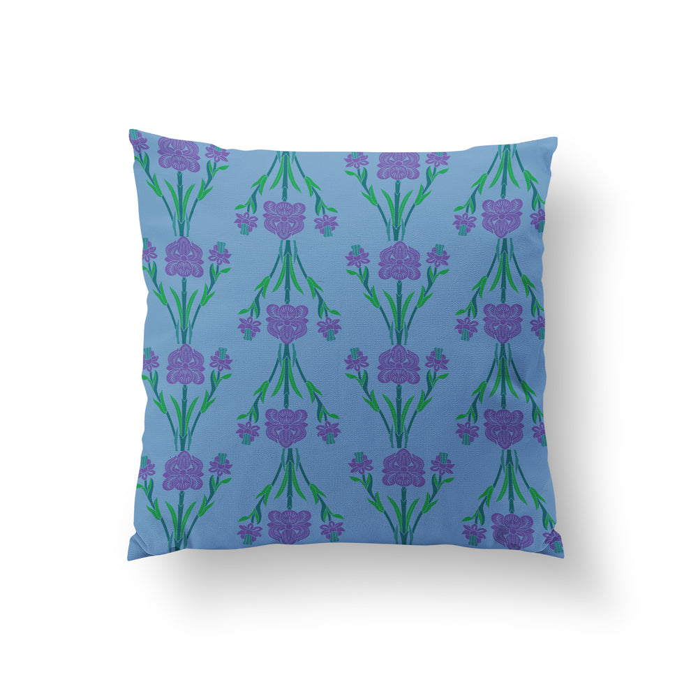 Garlands Cushion - Ethereal Blue Pure Silk 45x45cm