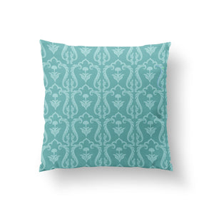 Load image into Gallery viewer, Lattice Cushion - Ice Turquoise Pure Silk 45x45cm
