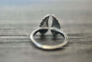 Adjustable Wing Ring - Oxidized Patina Solid 925 Sterling Silver
