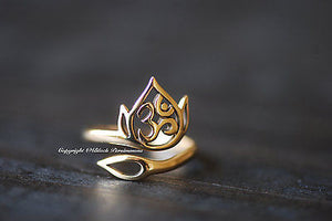 Adjustable Lotus and Ohm Ring - Natural Bronze