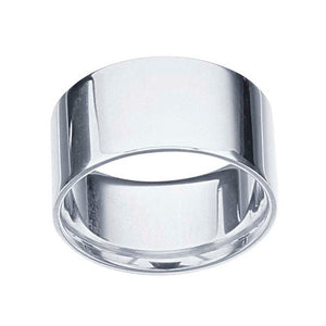 Wedding Band 10mm Flat Plain Ring - Solid 925 Sterling Silver