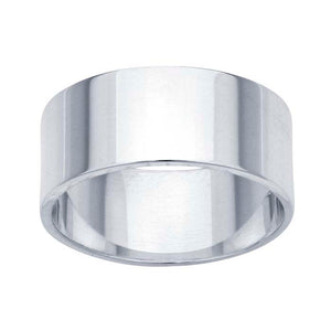 Wedding Band 8mm Flat Plain Ring - Solid 925 Sterling Silver