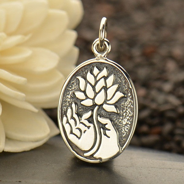 Buddha Hand Holding a Lotus Necklace - Solid 925 Sterling Silver