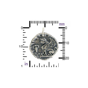 Ancient Sphinx Coin Pendant Necklace - Solid 925 Sterling Silver