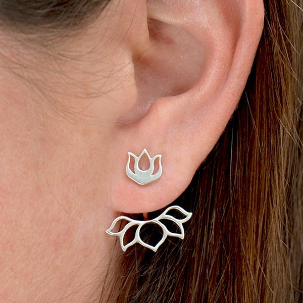 Lotus Ear Bud Jacket - Minimalist Jewelry - Solid 925 Sterling Silver