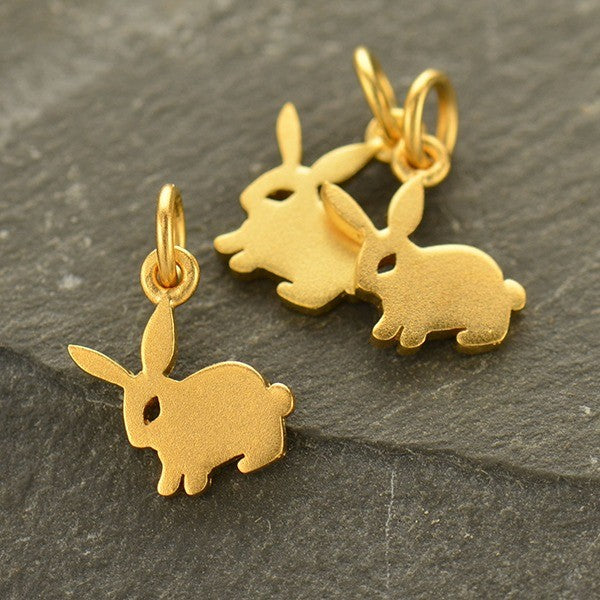 Bunny Necklace - Satin 24K Gold Plated Sterling Silver