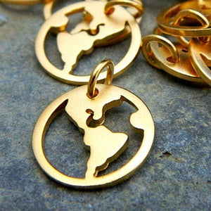 World Map Charm Necklace - Satin 24k Gold Plated Sterling Silver