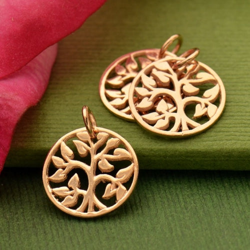 TIny Tree of Life Charm Necklace - 18k Rose Gold Plated Sterling Silver