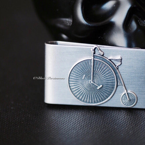 Velocipede Money Clip - Steampunk High Wheeled Bicycle Antique Sterling Silver Plated Brass Stamping - Stainless Steel Clip