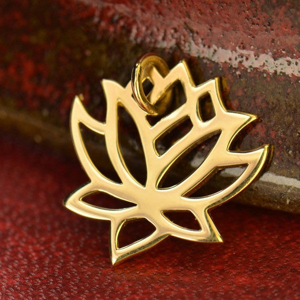 Medium Renge Lotus Flower Charm Necklace - Solid 14K Gold