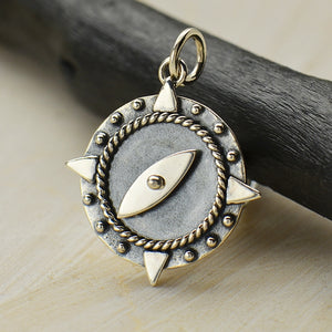 Compass Charm with Spinning Needle Necklace - Solid 925 Sterling Silver