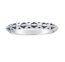 Triangular-Design Stacking Ring - Solid 925 Sterling Silver - Size 6, 7, & 8