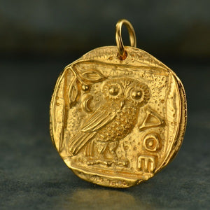 Ancient Athena Owl Coin Pendant Necklace - Satin 24k Gold Plated Bronze
