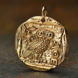 Ancient Athena Owl Coin Pendant Necklace - Natural Bronze