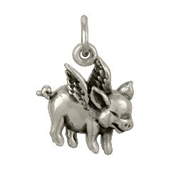 Flying Pig Charm Necklace - Solid 925 Sterling Silver
