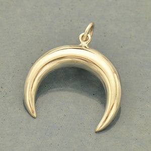 Double Horn Crescent Moon Pendant Necklace - Solid 925 Sterling Silver