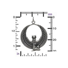Egyptian Winged Goddess Pendant Necklace - Solid 925 Sterling Silver