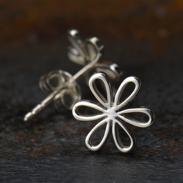 Openwork Daisy Post Earrings - Solid 925 Sterling Silver