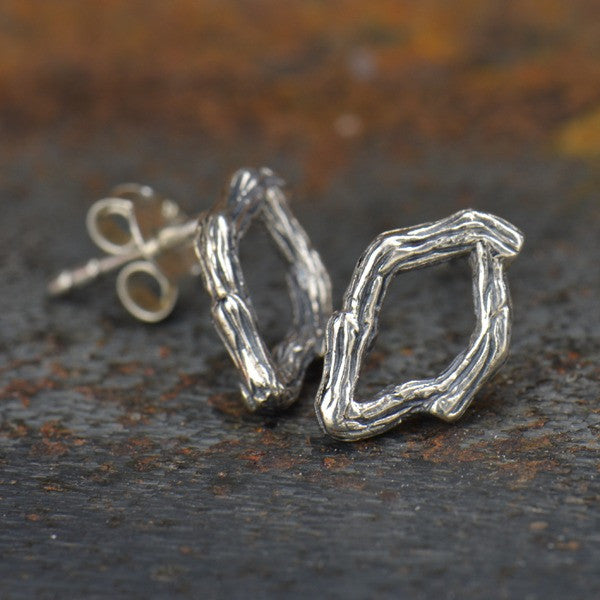 Textured Branch Post Earrings - Solid 925 Sterling Silver