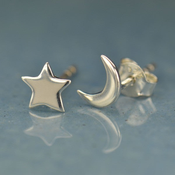 Moon and Star Post Earrings - Solid 925 Sterling Silver