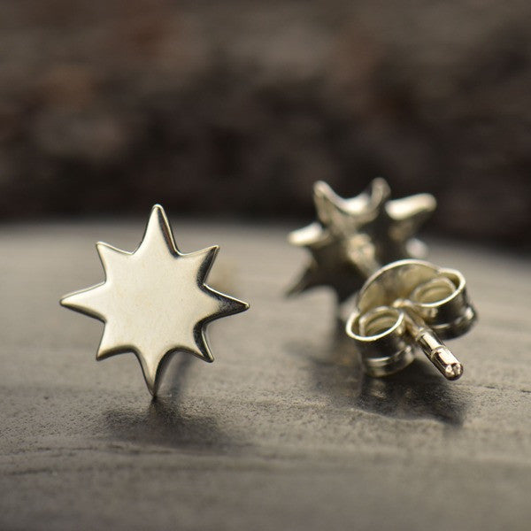 North Star Post Earrings - Solid 925 Sterling Silver