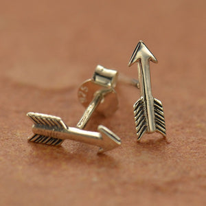 Tiny Arrow Post Earrings - Solid 925 Sterling Silver