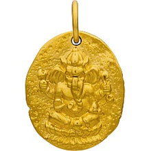 Ancient Ganesh Coin Necklace - Satin 24K Gold Plated Sterling Silver