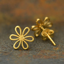 Openwork Daisy Post Earrings - Satin 24K Gold Plated Sterling Silver