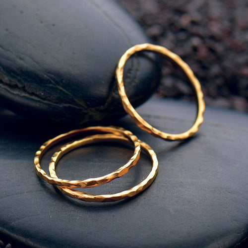 Hammered Midi Knuckle Stacking Ring - Satin 24k Gold Plated Sterling Silver - Size 3 & 4