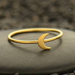 Tiny Moon Ring - Satin 24K Gold Plated Sterling Silver - Size 6, 7, & 8