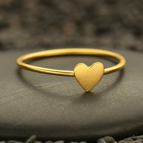 Tiny Heart Ring - Satin 24K Gold Plated Sterling Silver - Size 6, 7, & 8