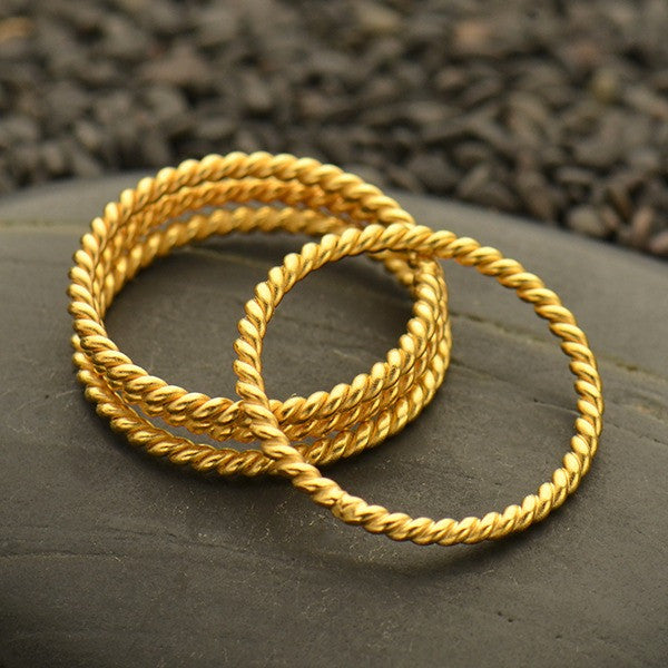 Twisted Wire Ring - Satin 24K Gold Plated Sterling Silver - Size 6, 7, & 8