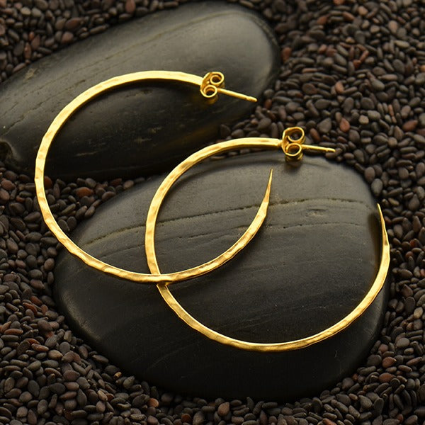 Large Hammered Hoop Finding Earrings - Satin 24k Gold Plated Sterling Silver