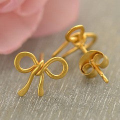 Bow Post Earrings - Geometric Jewelry - Satin 24k Gold Plated Sterling Silver
