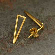 Long Skinny Triangle Post Earrings - Geometric Jewelry - Satin 24k Gold Plated Sterling Silver