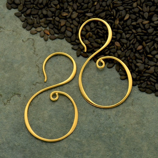 S Shape Hook Earrings - Geometric Jewelry - Satin 24k Gold Plated Sterling Silver