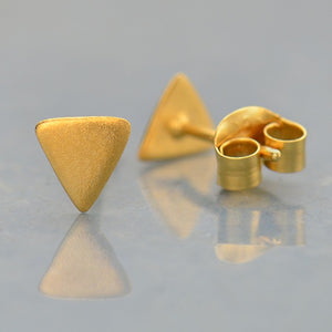 Triangle Stud Post Earrings - Geometric Jewelry - Satin 24k Gold Plated Sterling Silver