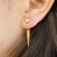 Triangle Ear Jacket - Minimalist Jewelry - Satin 24k Gold Plated Sterling Silver