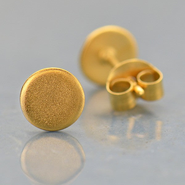 Circle Stud Post Earrings - Geometric Jewelry - Satin 24k Gold Plated Sterling Silver