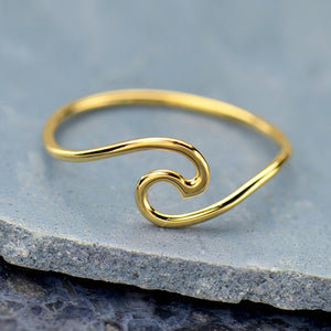 Wave Ring - 14K Shiny Gold Plate Sterling Silver - Size 6, 7, & 8