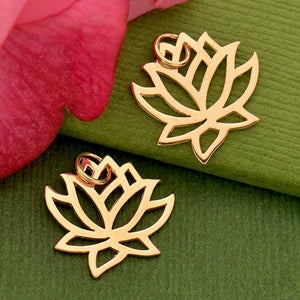 Renge Lotus Flower Charm Necklace - 18k Rose Gold Plated Sterling Silver