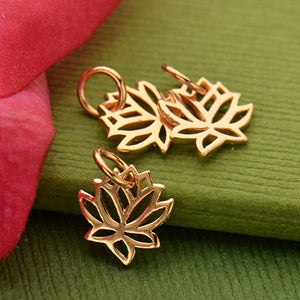 Tiny Renge Lotus Flower Charm Necklace - 18k Rose Gold Plated Sterling Silver