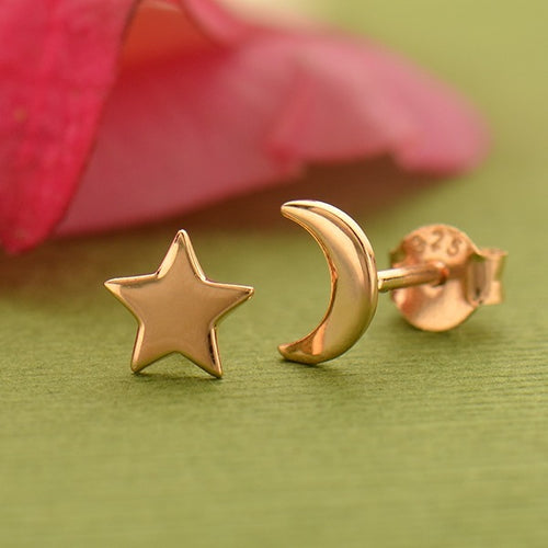 Moon and Star Post Earrings - 18k Rose Gold Plated Sterling Silver