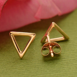 Open Triangle Post Earrings - 18K Rose Gold Plate